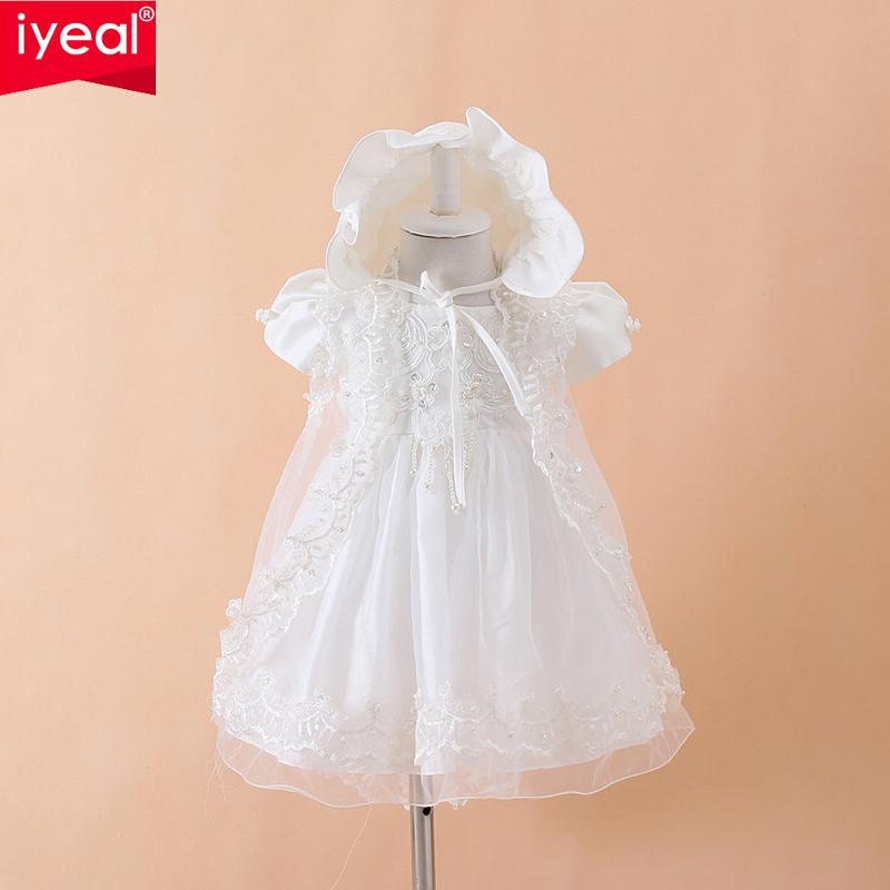 Iyeal Baby Mädchen Taufkleid Kleider + hut + schal Vestidos Infantis Prinzessin Hochzeit Spitzenkleid Für Neugeborene Taufe 3 stücke J190614