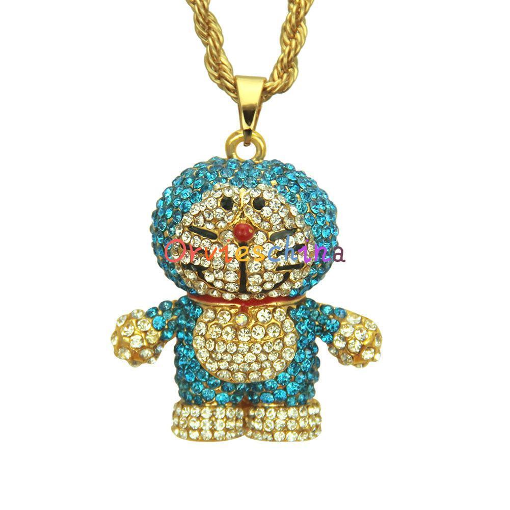 2020 concepteur modèles européens d'explosion mignon chat de bande dessinée pleine de bijoux collier pendentif diamant