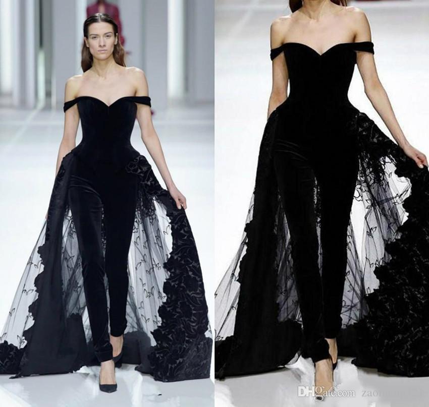 2020 Женщины моды Вечерние платья Комбинезоны плеча Overskirts Тюль кружевном платье выпускного вечера платья особому случаю Wears мантиях De soirée