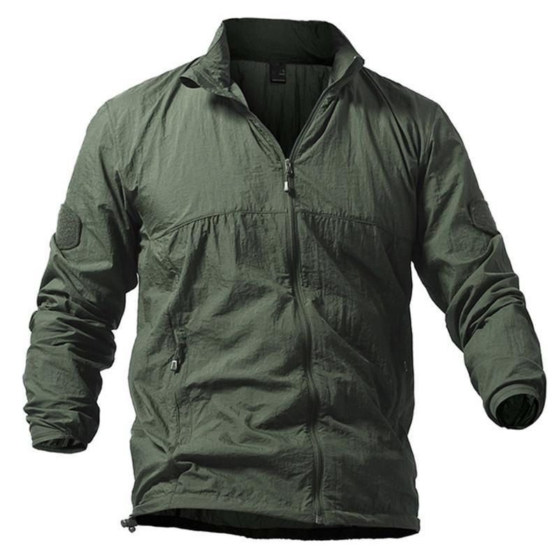 Homens Tático Casaco de Pele primavera verão Ultra-light Ultra-fino Exército casaco homens Respirável Blusão Impermeável outerwear