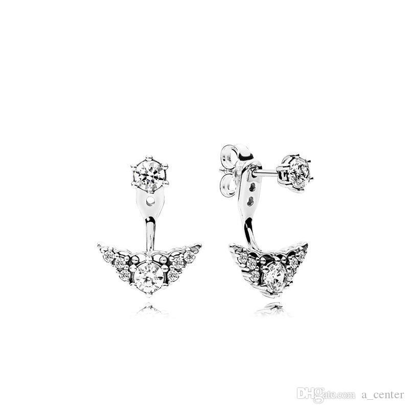 NEUE LUXUS Mode Krone Anhänger Ohrstecker für Pandora 925 Sterling Silber CZ Diamant Ohrringe mit Original Box Set für Frauen Mädchen