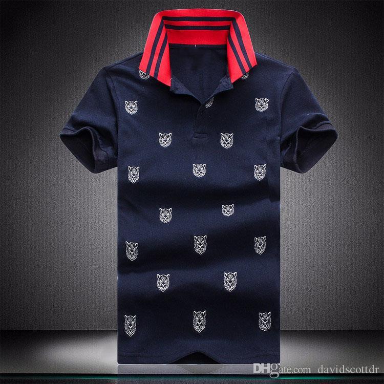 Lüks tasarımcı moda klasik erkek baskılı kaplan kafası gömlek pamuklu erkek tasarımcı tişört siyah tasarımcı polo gömlek erkek kırmızı