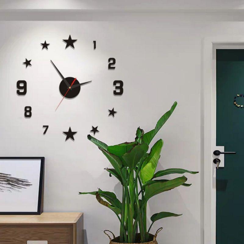 piccolo orologio fai da te rosso / Sala Orologio da parete moderno 3D fai da te stelle superficie dello specchio della casa dell'autoadesivo della decorazione dell'ufficio / Stars digitale