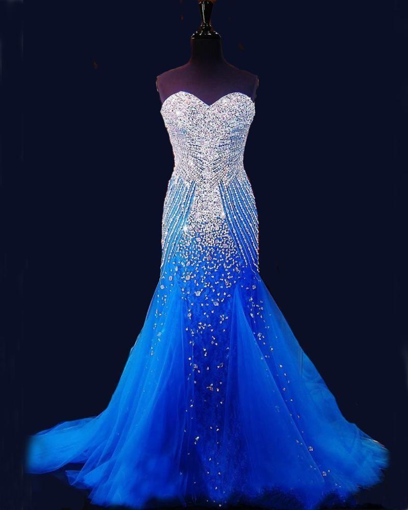 2020 Blue Mermaid Lange Abendkleider Festzug Frauen reizvoller Schatz Vestido Luxus Perlen Kristall Tulle Pageant Abendkleid