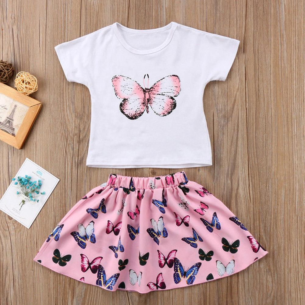 Sweet Summer Style Two Piece Set Girls Butterfly Printed T-shirt and Skirt Dress Set Outfits Clothes Fashion Top#1123