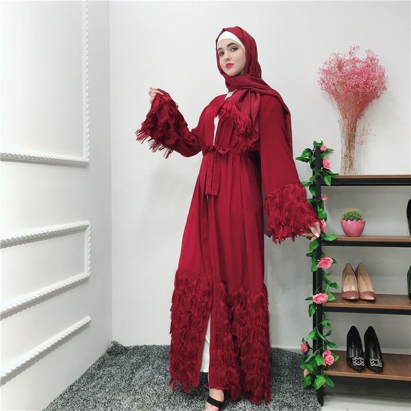 Ramadán borla Abaya traje del kimono Dubai Turquía musulmana Hijab vestido Kaftan Abayas para las mujeres Jilbab Caftan Marroquí ropa islámica