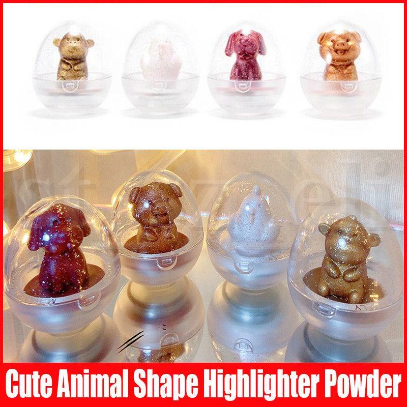 MAFFICK Cute Shape Shimmer Highlighter Animal Shape Makeup Pressed Powder Iluminador Maquiagem Contour Bronzer Highlight Powder 4 Colors