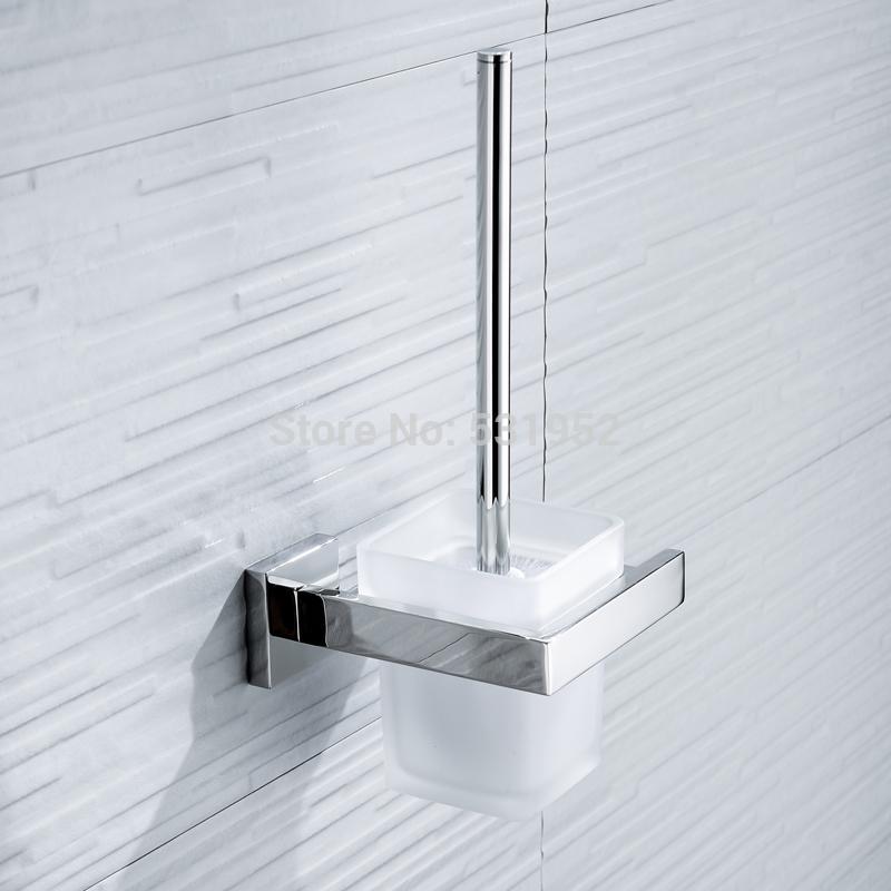 Туалет квадратная щетка для унитаза Настенное крепление держатель щетки для унитаза со стеклянной чашкой ванная комната Sus304 нержавеющая сталь полированная