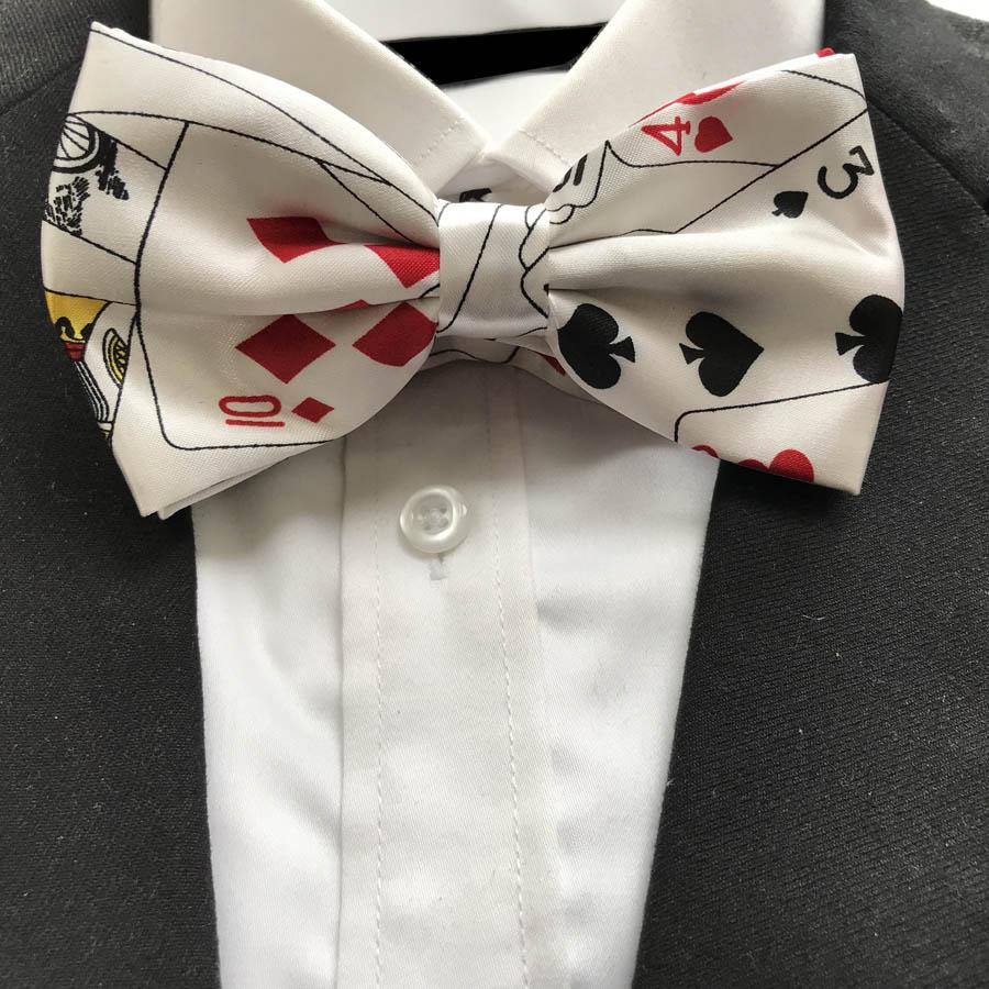 10 Pcs/Lot Wholesale Adult Men Poker Bowties Male Play Cards Pattern Printed Bow Ties Butterfly for Party TV