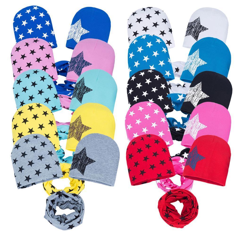 3pcs / set Chapeaux fraîches pour bébé fille 2019 nouvelle mode Imprimer étoile souple écharpe Caps Set pour nouveau-né doux Echarpe Colliers Ensembles xs Automne