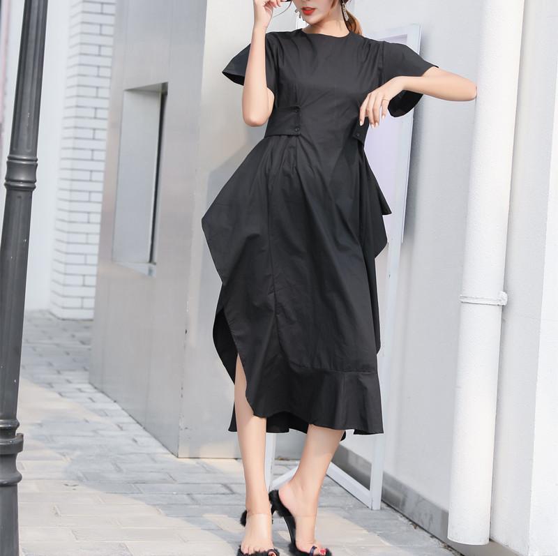Summer Dress poliestere Plus Size Zanzea reale Vadim vestito delle donne di trasporto 2019 nuovo a maniche cinghia irregolare marea femminile