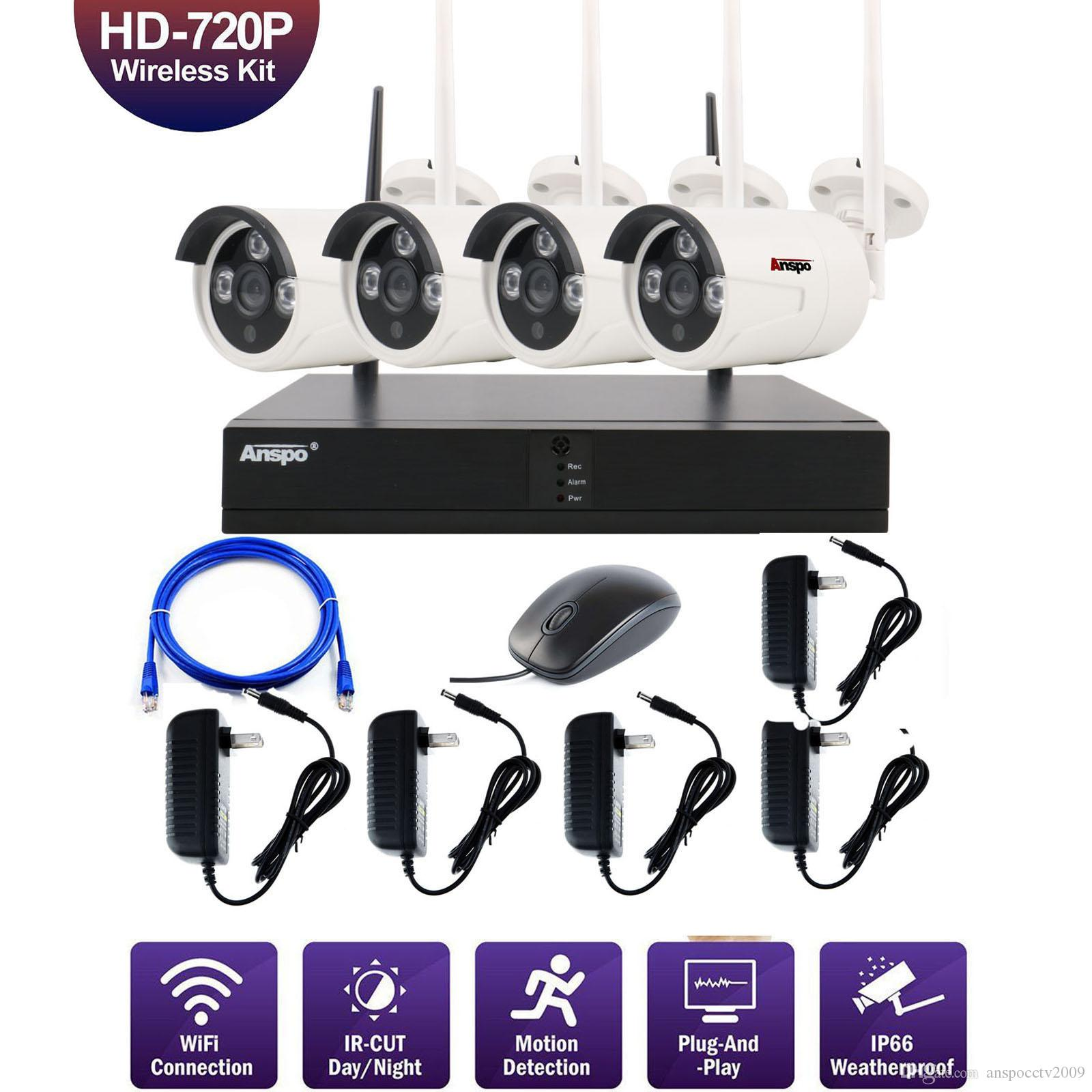 4CH Wireless Security Camera System WiFi Camera Kit NVR 1080P Night Vision IR-Cut CCTV Home Surveillance System Waterproof