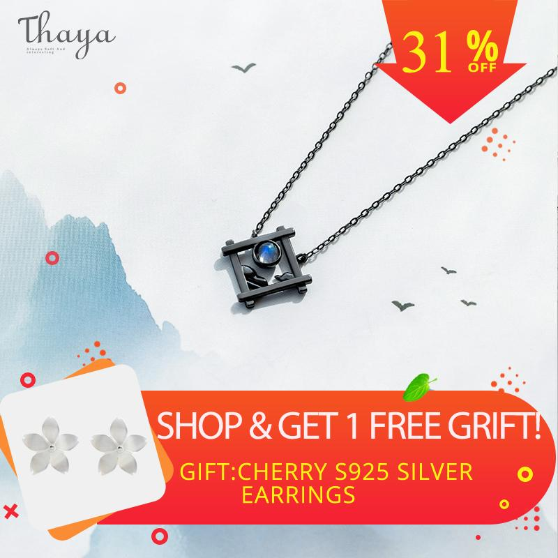 Thaya Endless Night Blue Natrual Moonstone Pendant Necklace S925 Silver Sky Window Cloud Mysterious Black Jewelry For Women J190705