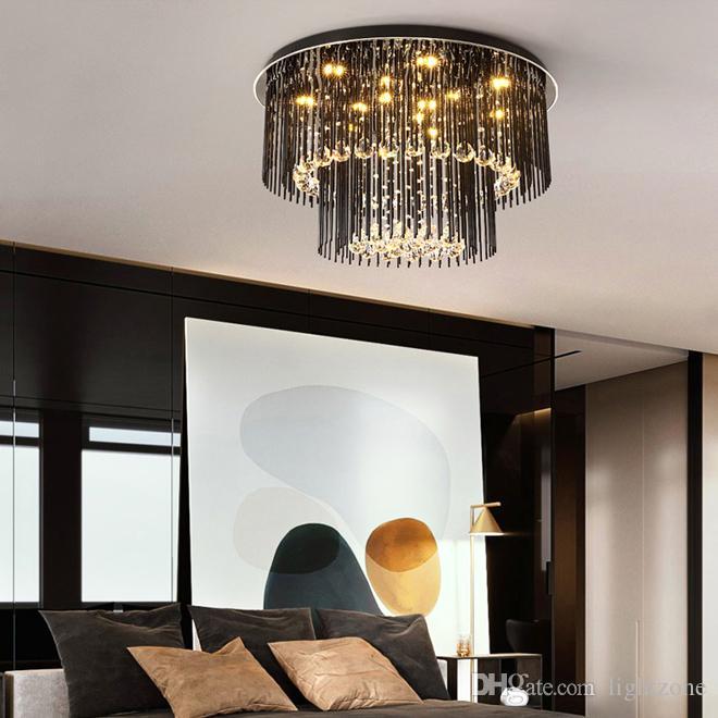 oturma odası yatak odası için led tavan lambası aydınlatma Modern yaratıcı yuvarlak kristal avize ışığı tavan lambası siyah kare avizeler