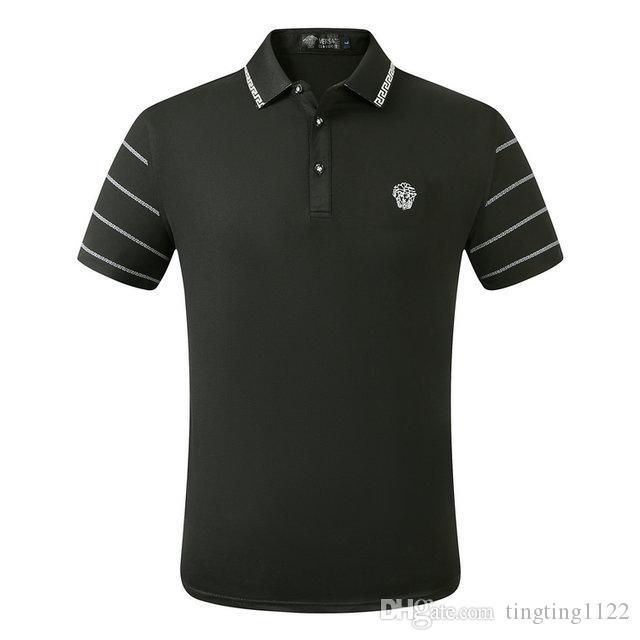 2020 de Verão da marca de roupa de luxo Designer Polos Homens Casual Polo Moda Cobra Abelha Imprimir Bordados T Shirt High Street Mens Polo # 39