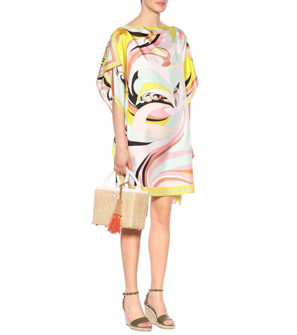 جديد 2020 مصمم أزياء النساء اللباس بأكمام قصيرة Multico الهندسية طباعة كبيرة الحجم تمتد جيرسي الحرير فضفاض فستان اليوم