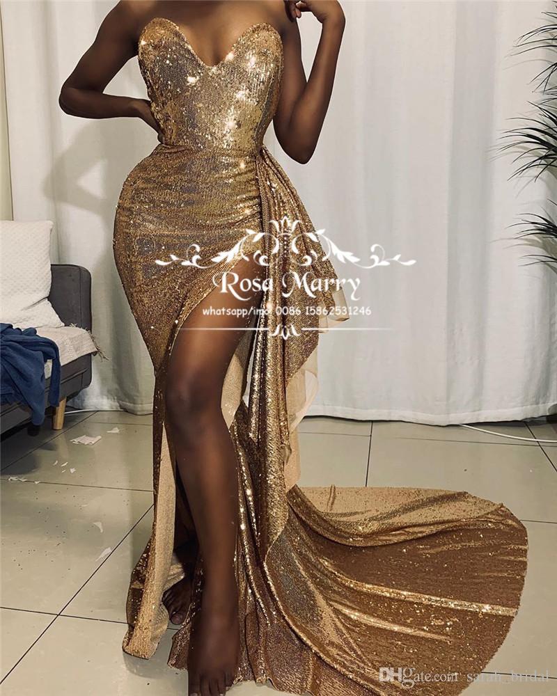 Sexy Gold Sequined Русалка Вечерние платья 2020 Юсеф Aljasmi High Split оборками Плюс Размер African Arabic вечерние платья выпускного вечера платья