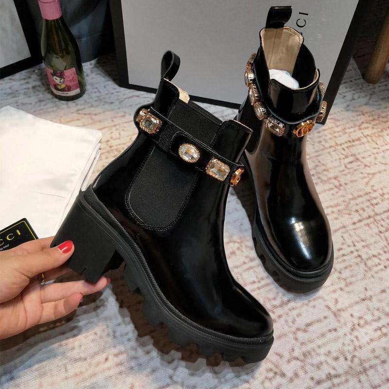 La nueva llegada mujeres de la marca botas de cuero de lujo atractivo del talón grueso Desierto Plataforma de arranque de la abeja de la estrella del invierno del cuero genuino del zapato Tamaño 35-41 e6