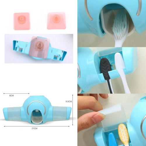 Automatic Toothpaste Dispenser+ 4 Toothbrush Holder Set Wall Suck Mount Stand