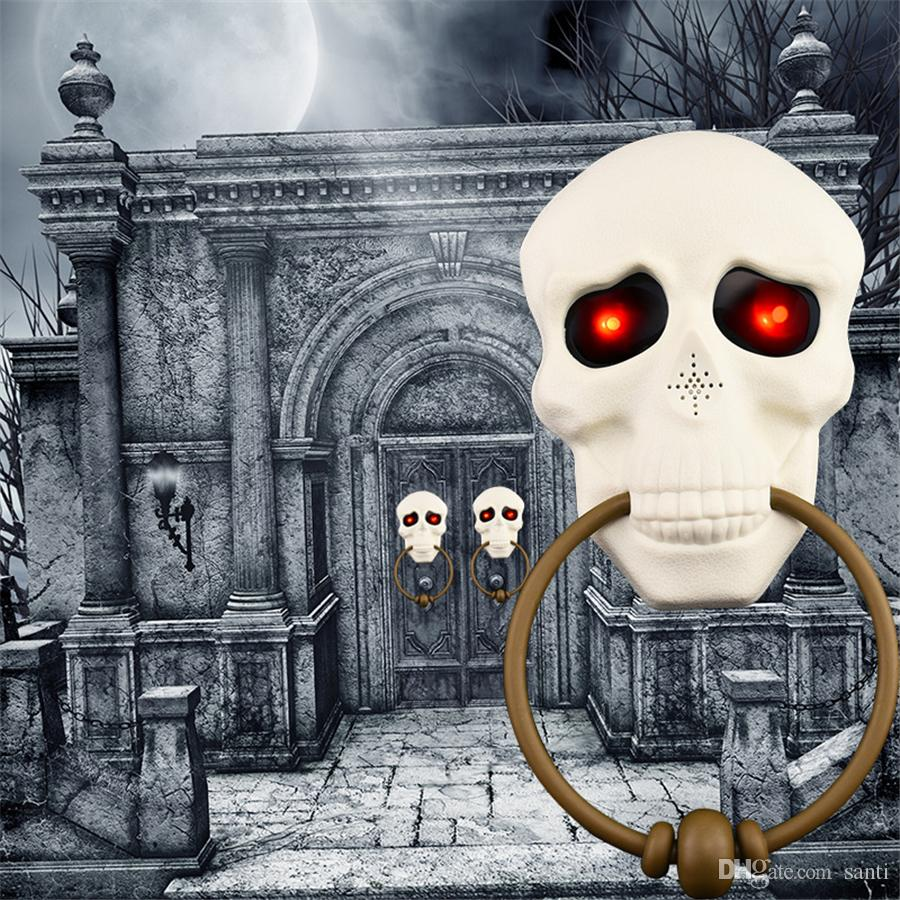 Halloween Decorations Light Up Talking Doorbell Skull Scary Haunted Door Bell for Outdoor House Bar Door Prop Decor Party Supplies JK1909