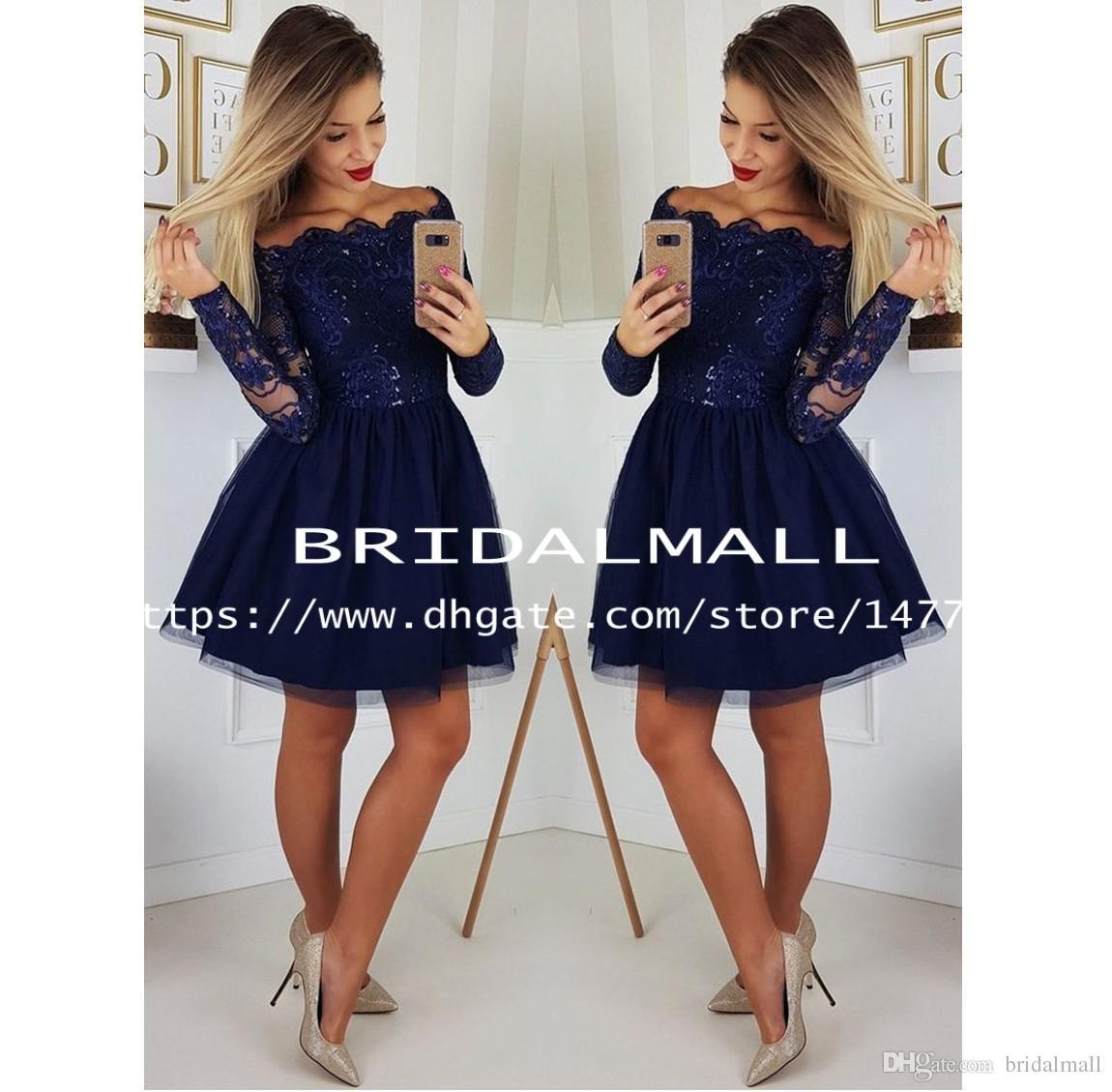 Sheer Manches longues en dentelle bleu marine Robes de bal 2020 Une ligne Juniors Applique douce 15 Cocktail Robes Plus Size Graduation Dress