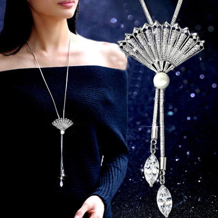 Корейский кристалл цветок свитер цепи ювелирные изделия новой зимы длинное ожерелье женщины диких тюльпанов роскошные аксессуары