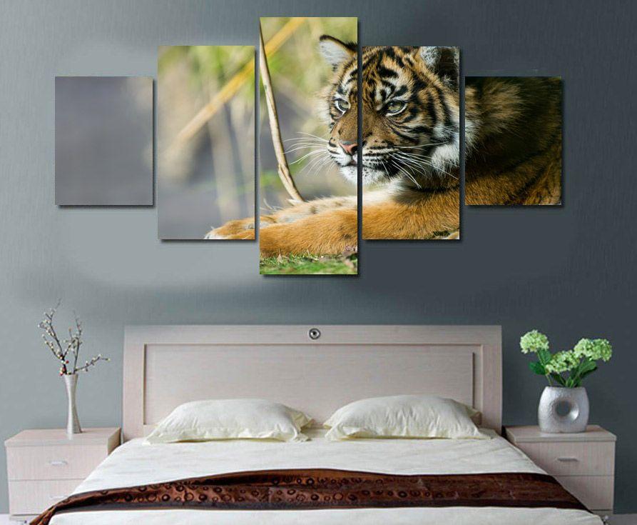 5 Pezzi HD ha stampato la Foresta Tigers tela Stampa arredamento camera di poster tela di canapa di trasporto