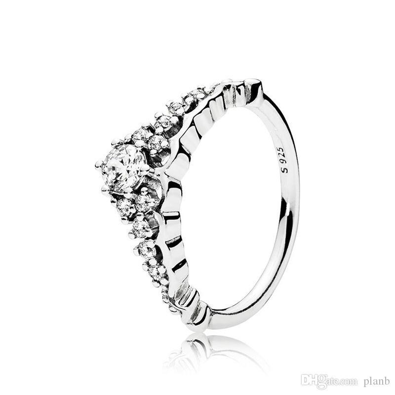 Cancella CZ Diamond Fairytale Tiara Ring Box originale per Pandora 925 Sterling Sterling Crown Donne Donne Anello anello nuziale