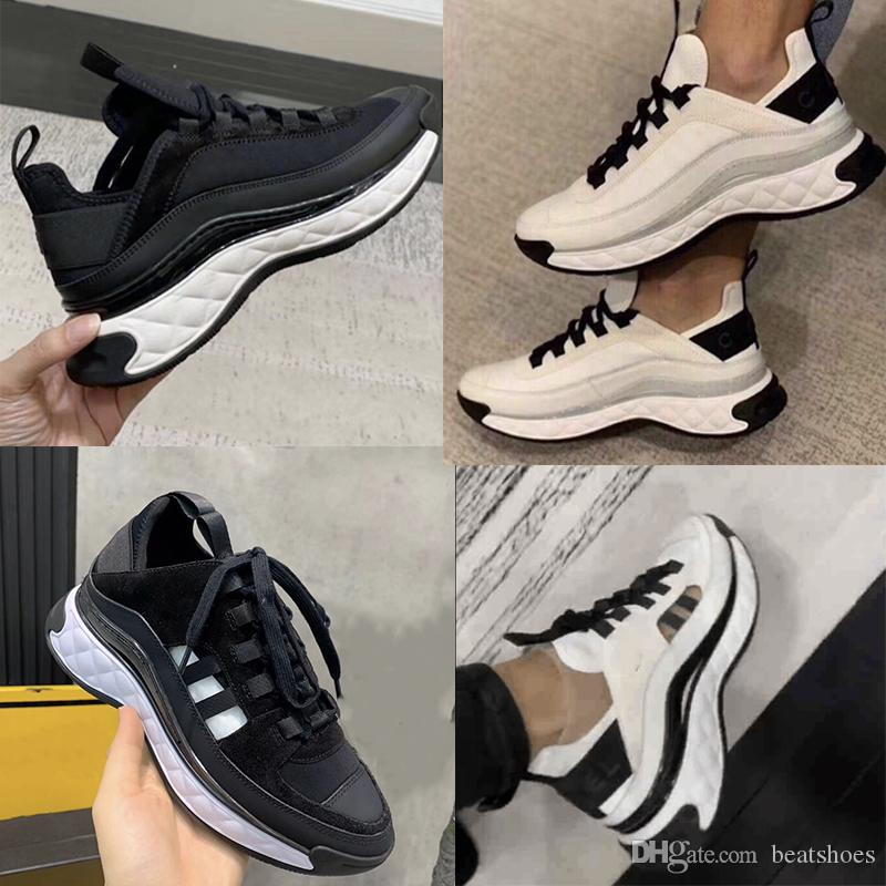 Terciopelo de las mujeres de piel de becerro diseñador de zapatos zapatillas de cuero de gran tamaño real Plataforma Formadores Negro Marfil zapatilla de deporte respirable fibras mezcladas con cuadro