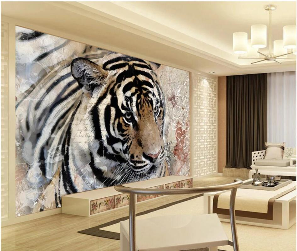 3D 바탕 화면 사용자 지정 photo 현대 호랑이 오렌지 문신 홈 장식 거실 3D 벽 벽화 벽 3 일 동안 벽지