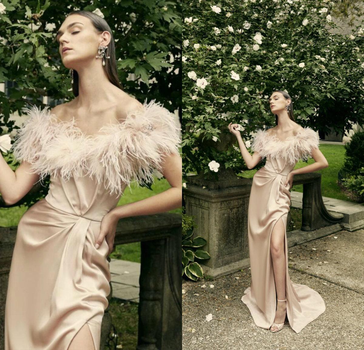 2020 Marchesa Champagne robes de bal de l'épaule gaine robe de soirée en cristal haute Slit partie formelle Robes de plumes Robes De Soirée