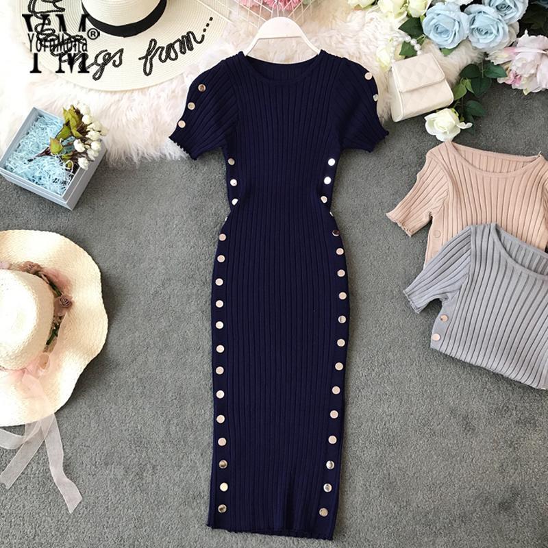 Yornmona 버튼 우아한 숙 녀 드레스 2019 새로운 여름 니트 사무실 드레스 좋은 품질 여성 무릎 길이 바디 콘 드레스 Vestido MX200319