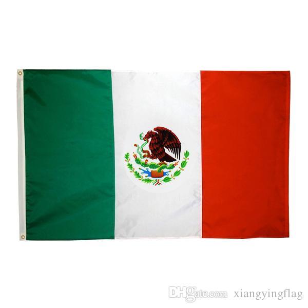 50pcs Großhandel direkte Fabrik 3x5 Fts 90x150cm mx mex Mexicanos mexikanische Flagge von Mexiko Doppelmasche