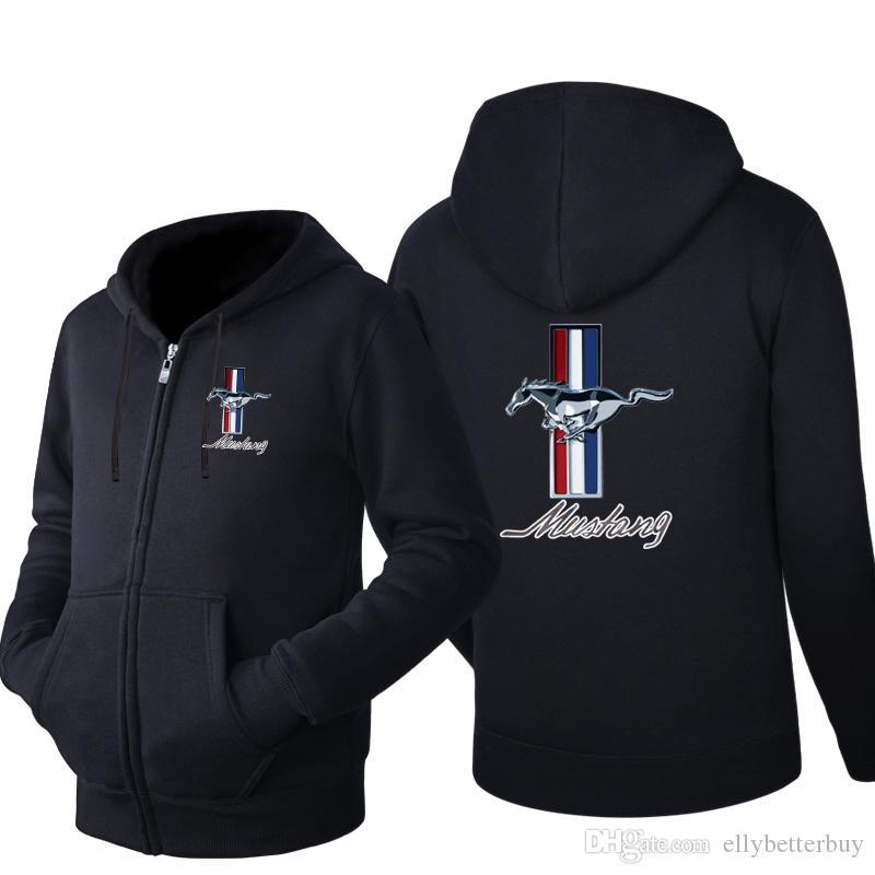 Erkekler Fermuar Rahat İlkbahar Sonbahar Kapüşonlular Uzun Kollu Sweatshirt Erkek ceketler Eşofman Günlük Giyim Yeni Ford Mustang Kapşonlu Hırka
