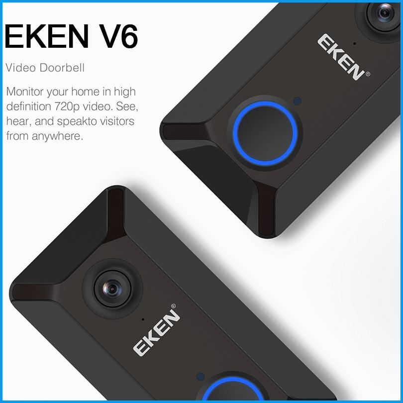 جديد EKEN V6 اللاسلكية الذكية 720P واي فاي كاميرا فيديو الجرس سحابة التخزين الباب جرس كام جرس المنزل أمن الوطن مع بطارية شحن مجانا