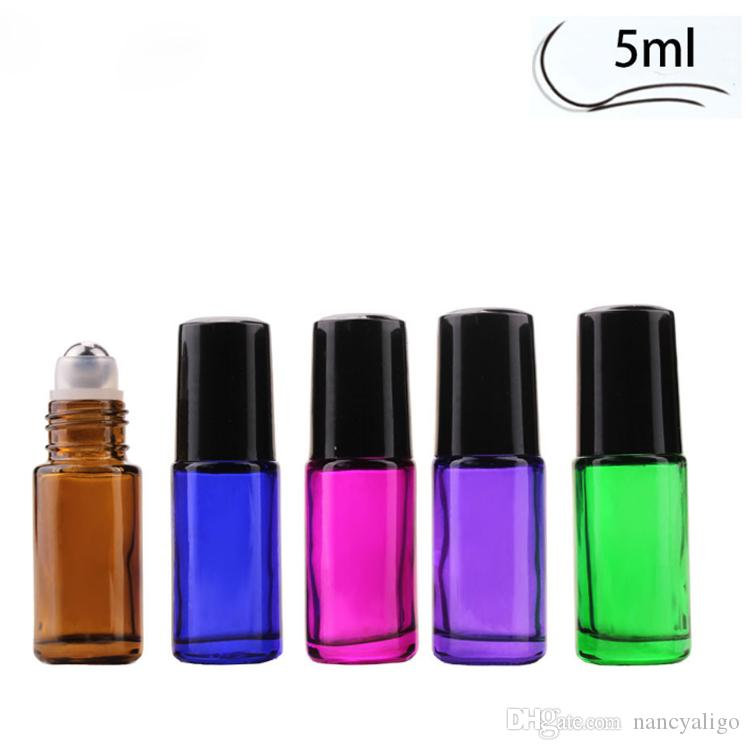 5 Colors 5ml Mini Roll On Glass Bottle Thick Fragrance PERFUME GLASS BOTTLES STAINLESS STEEL BALL For ESSENTIAL OIL