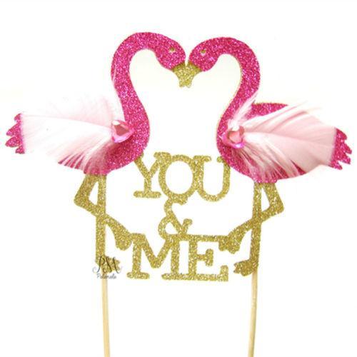 1pc Doğdun Flamingo Kırmızı Yerleşik Kart doğum günü partisi pasta süsleme pasta Araçları