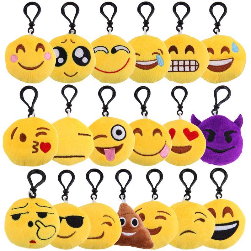 Emoji juguetes de peluche llavero llaveros 6 * 2cm clave cadenas Emoción Mono Cerdo panda perro Pooh expresión QQ amarillo relleno por un colgante móvil bolsas