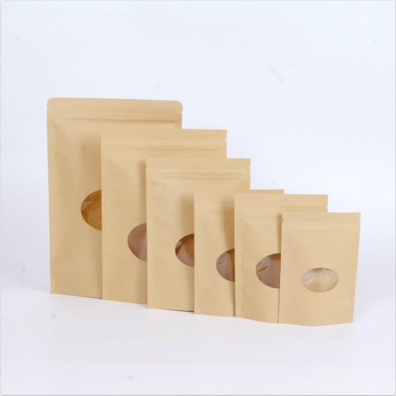 carta kraft tondi semi spuntini finestra di melone secco merci noci cibo tridimensionale bag sigillo modello da stampare 13x18 + 4 centimetri 18X26 + 4 centimetri 8 dimensioni