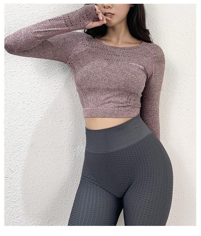 여자 요가 고정되는 체육관 의류 적당은 셔츠 스포츠 여자 긴 소매 티셔츠 활동적인 착용을 수확했습니다