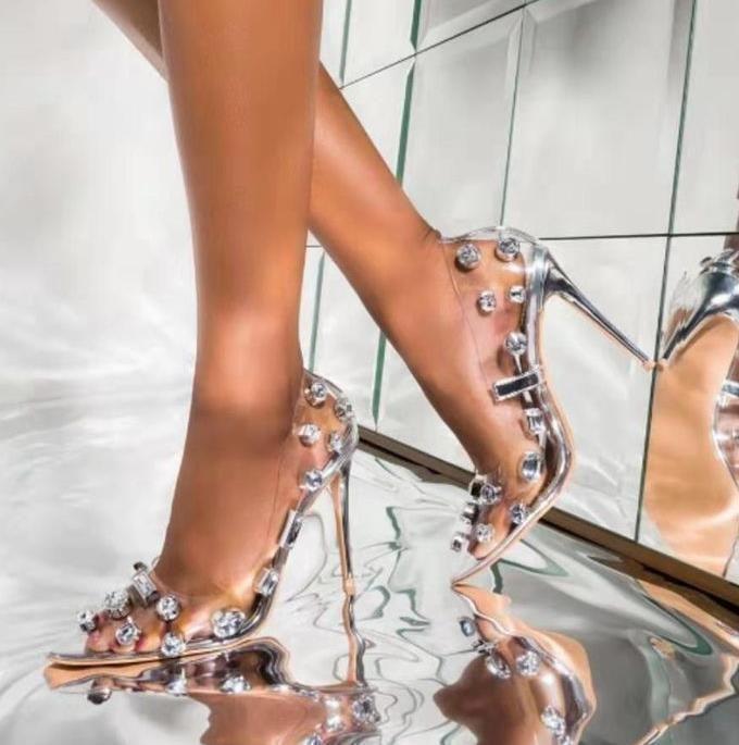 taglia 35 a 42 con la scatola di scintillio cristallino tacchi argento strass stilista tacchi alti progettista pompe scarpe da sposa