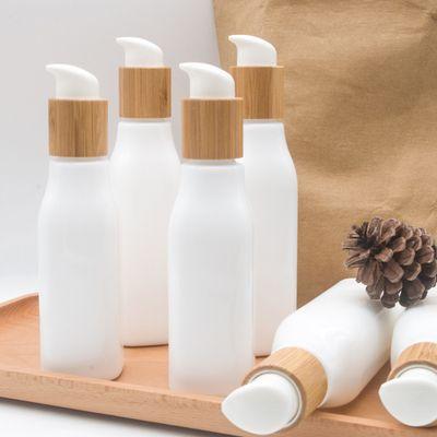 الخيزران غطاء زجاجة محلول الرش كريم 120ML 100ML 4oz سعرنا الزجاج العقيق الأبيض الخزف مضخة زجاج زجاجة الخيزران مستحضرات التجميل الحاويات