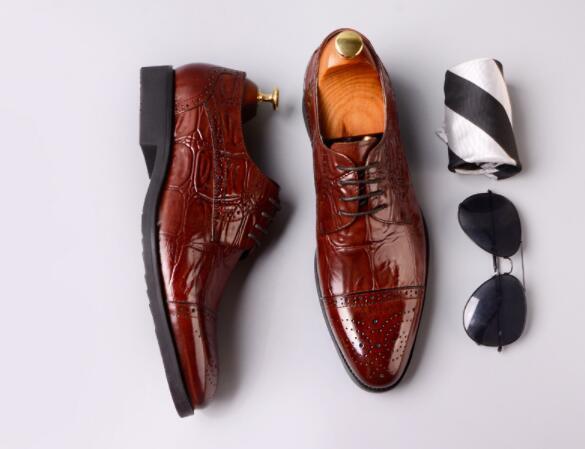 3 couleurs Hommes Bullock sculpté robe formelle cuir véritable Oxfords Chaussures pour homme dentelle NOUVEAU up chaussures bureau d'affaires