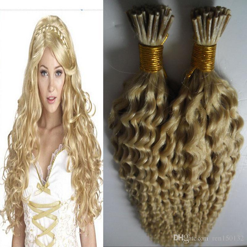 Brasileño Kinky Curly Keratin Stick Extensiones de cabello 1g / S 200g I TIP TIP TIENDO MÁQUINA DE EXTENSIONES DE PISTO HECHO EXTENSIONES DE PELO FUSION