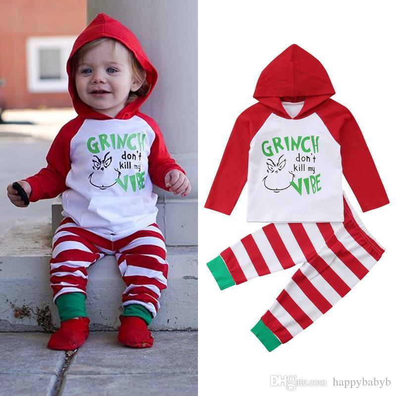 Рождество Baby Boy Девушка с длинным рукавом Комплект одежды Новорожденных Мода Мультфильм Письмо Толстовки + полосатые наряды брюки