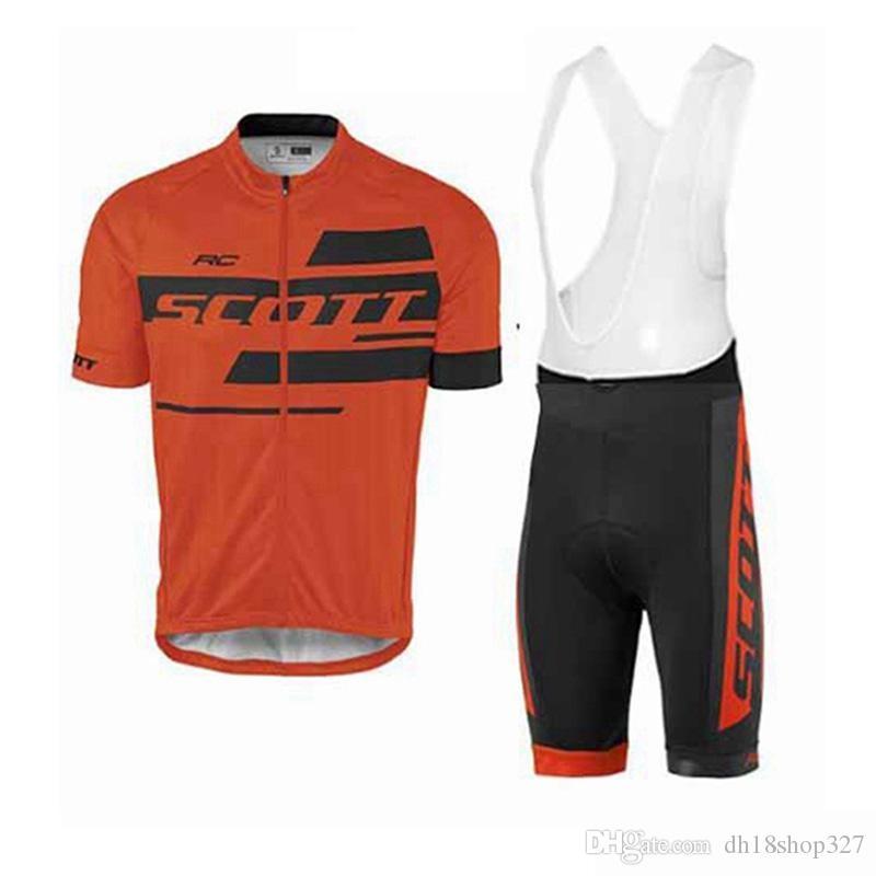 SCOTT 프로 팀 2019 반팔 남성 통기성 사이클링 유니폼 턱받이 팬티 세트 자전거 의류 로파 타이츠 Ciclismo의 623619c