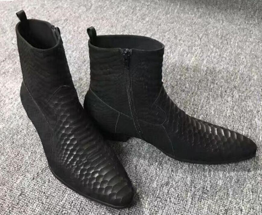 2019 snakeskin print leder stiefel mode matt leder knöchel botas party schuhe männlich zip up motorräder männer booties