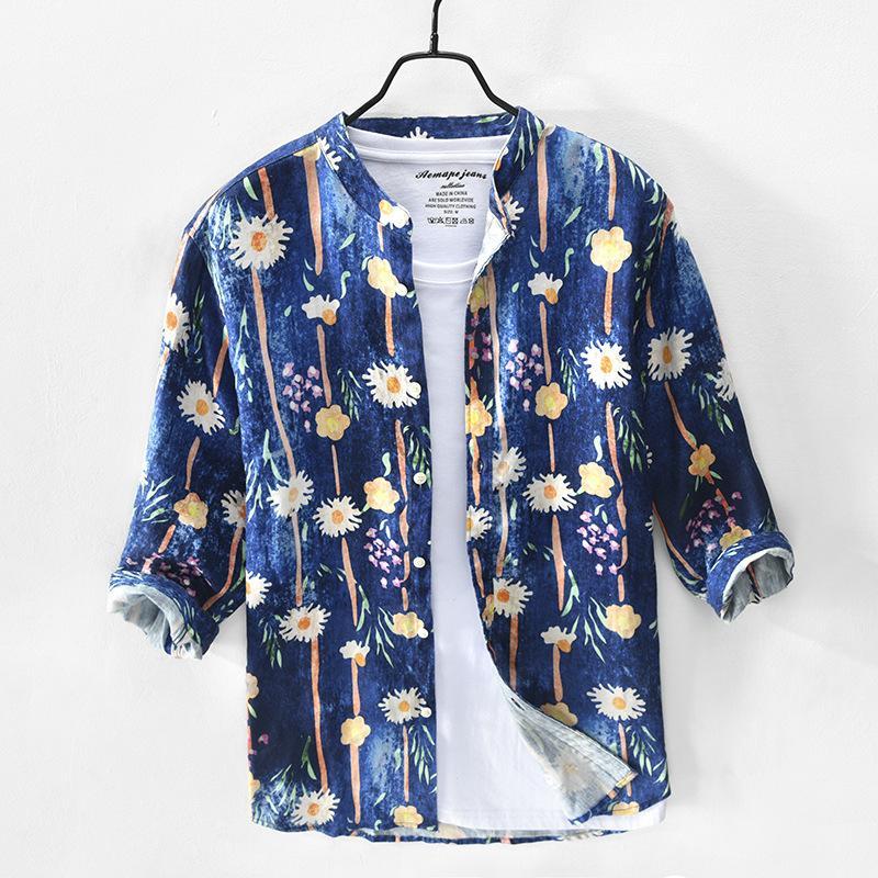 % 100 Saf Keten Baskı Gömlek Man Casual Üç Çeyrek Sleeve 2020 Yeni Moda Gevşek Erkek Giyim Y2941 Tops