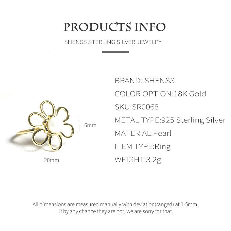 Elegant Quality 925 Adjustable Rings Fashion Sun Flower Shape Pearl Ring 925 Sterling Silver Ring for Women 925 Jewelry