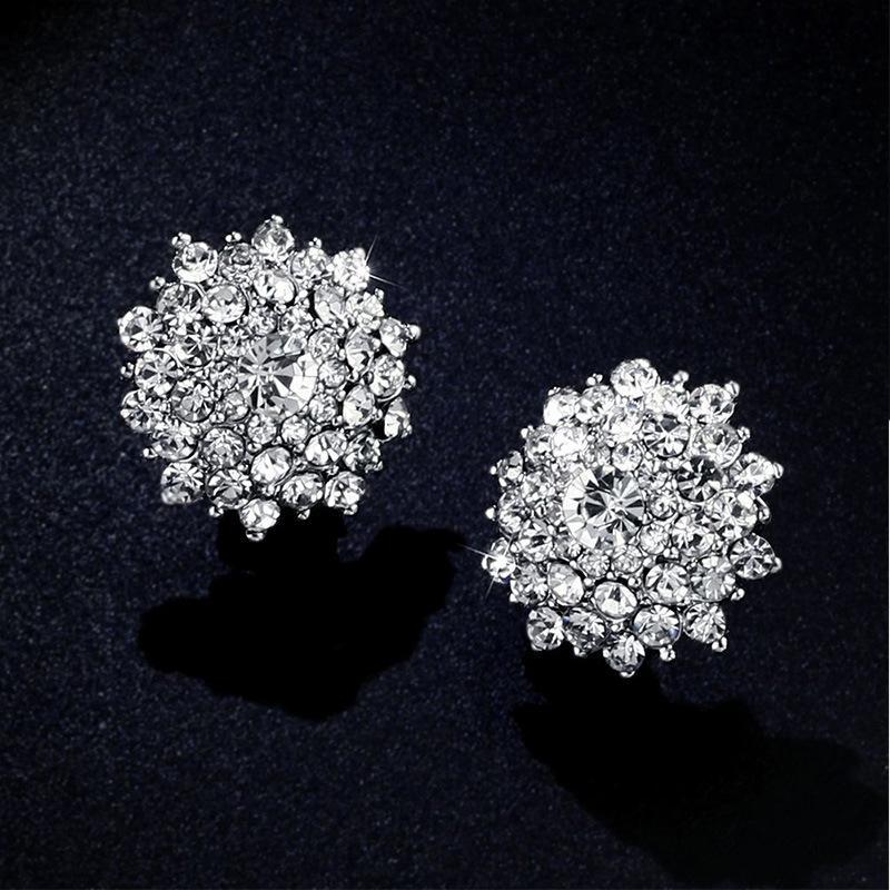 Kadınlar Kulaklar Rhinestones Düğün Takı için küpe On Piercing Yuvarlak Clip olmadan Lüks Big Kristal Altın Klip Küpe